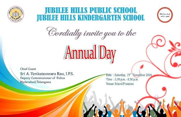 Jubileehills Public School Annual Day Invitation